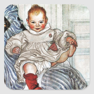 Baby Esbjorn Pulls on His Foot Square Sticker