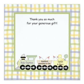 Baby Express Train Baby Shower Thank you note Custom Announcement
