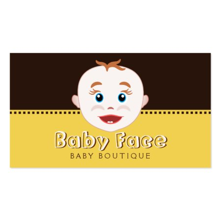 Cute Baby Face Dark Chocolate Brown and Yellow Baby Boutique Business Cards