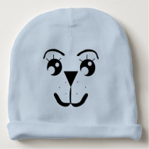 Baby Face Beanie Hat - Blue