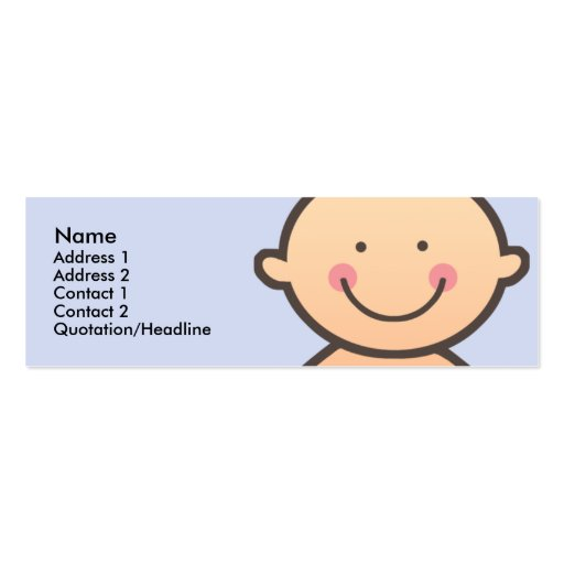 Baby Face Blue Skinny Profile Cards Double-Sided Mini Business Cards (Pack Of 20)