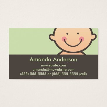 Professional Business Baby Face Green & Brown Business Cards