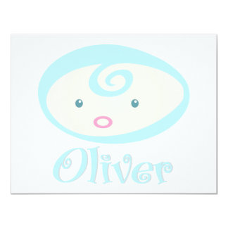 """""""Baby Face"""" Oliver 4.25"""" X 5.5"""" Invitation Card"""