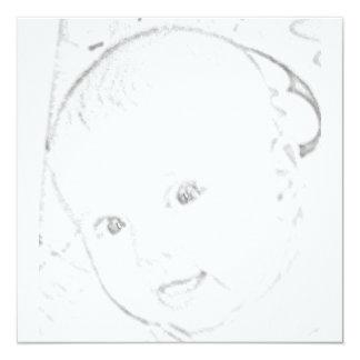 BABY FACE SKETCH SHOWER INVITATION