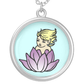 Baby Faerie in Lotus blossom Necklace