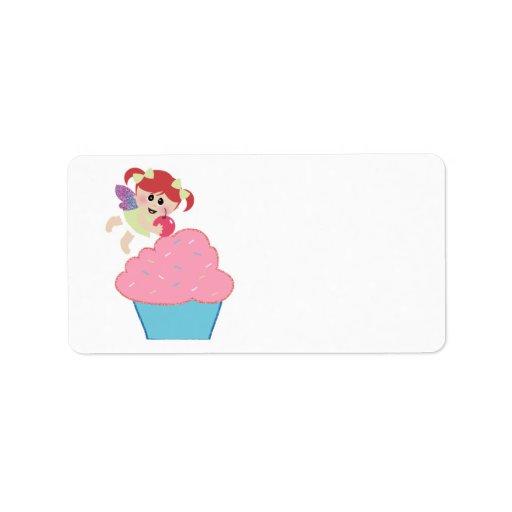 baby fairy cupcake cherry on top custom address label