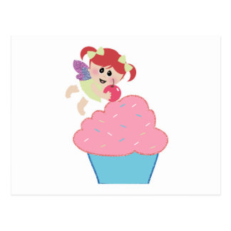 baby fairy cupcake cherry on top postcard
