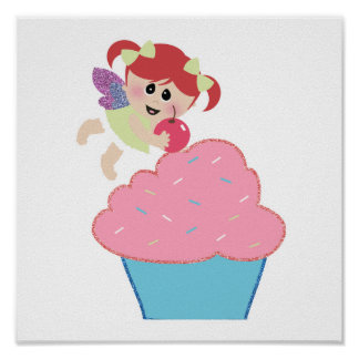 baby fairy cupcake cherry on top poster