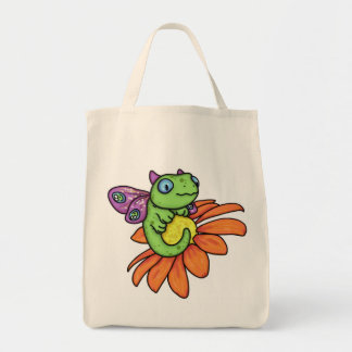 Baby fairy dragon and sunflower by Carrie Michael Tote Bag