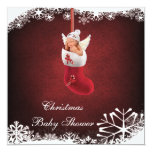 Baby Fairy in Christmas Stocking Baby Shower Card