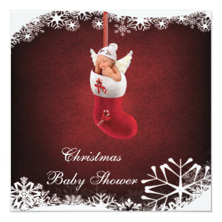 Baby Fairy in Christmas Stocking Baby Shower 5.25x5.25 Square Paper Invitation Card