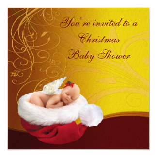Baby Fairy in Santa Hat Christmas Baby Shower Custom Invites
