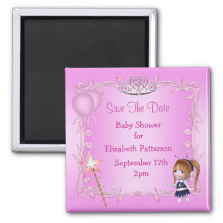 Baby Fairy & Tiara Baby Shower Save The Date Fridge Magnets