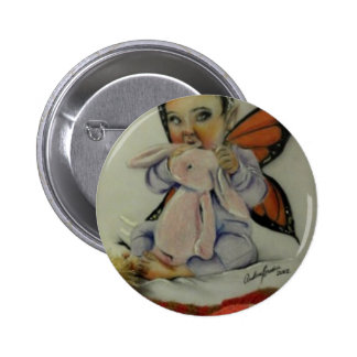 Baby fairy with bunny pinback buttons