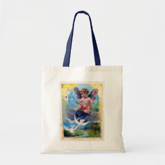BABY FAIRY WITH DOVES BUDGET TOTE BAG