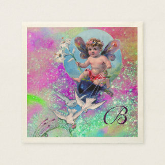 BABY FAIRY WITH DOVES IN PURPLE TEAL SPARKLES NAPKIN