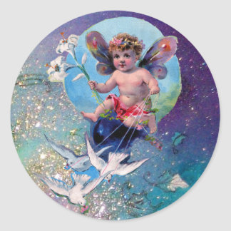 BABY FAIRY WITH DOVES IN SPARKLES blue green Classic Round Sticker
