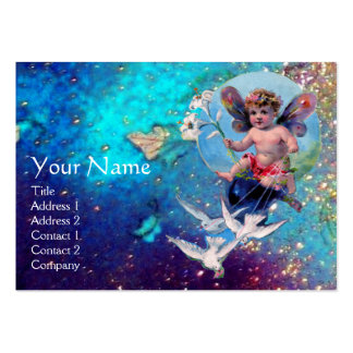 BABY FAIRY WITH DOVES IN SPARKLES blue yellow gold Business Card