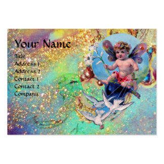 BABY FAIRY WITH DOVES IN SPARKLES green pearl Business Cards