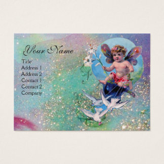 BABY FAIRY WITH DOVES IN SPARKLES green pearl Business Card