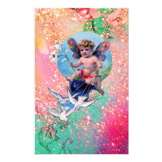 BABY FAIRY WITH DOVES IN SPARKLES  pink green gold Stationery