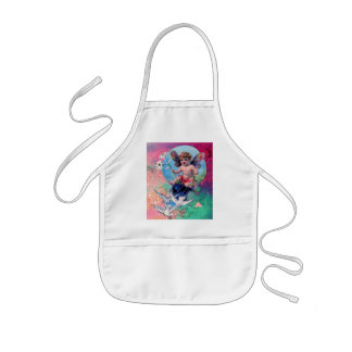 BABY FAIRY WITH DOVES IN SPARKLES pink green Kids' Apron