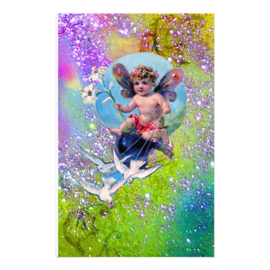 BABY FAIRY WITH DOVES IN SPARKLES purple green Stationery
