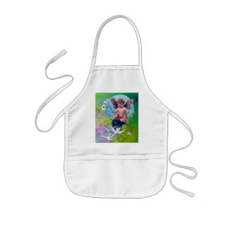 BABY FAIRY WITH DOVES IN SPARKLES violet green Kids' Apron
