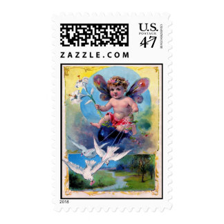 BABY FAIRY WITH DOVES POSTAGE