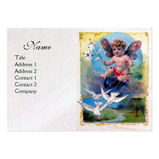 BABY FAIRY WITH DOVES, white pearl paper Business Cards