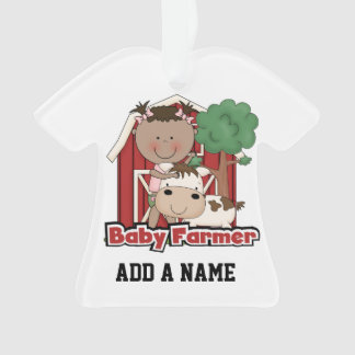 Baby Farmer With Cow Ornament