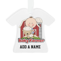 Baby Farmer With Sheep Ornament