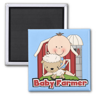 Baby Farmer With Sheep Tshirts and Gifts 2 Inch Square Magnet