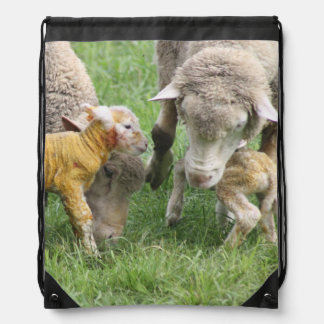 Baby Father Mother Twins Cute Lamb Peace Drawstring Backpack