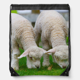Baby Father Mother Twins Cute Lamb Peace Drawstring Bag