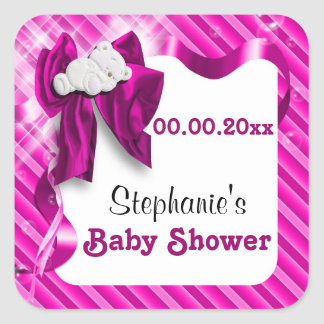 Baby favors announcement pink bear square stickers