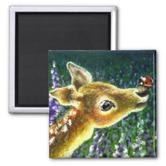 Baby fawn and ladybug magnet