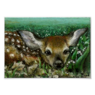 Baby fawn and lilies of the valley print