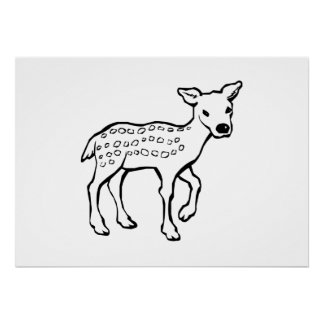 Baby Fawn Deer Poster