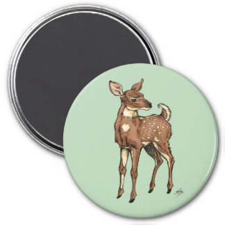 Baby Fawn with mint background 3 Inch Round Magnet