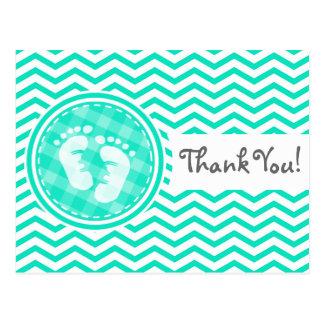 Baby Feet; Aqua Green Chevron Postcard