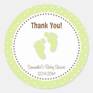 Baby Feet Baby Shower Sticker Green