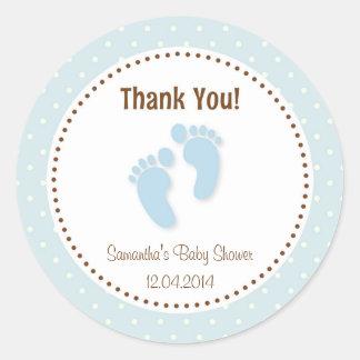 Baby Feet Baby Shower Sticker Pastel Blue