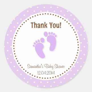Baby Feet Baby Shower Sticker Purple