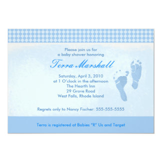 Baby Feet Blue Baby Shower Invitation Size: 5 x 7