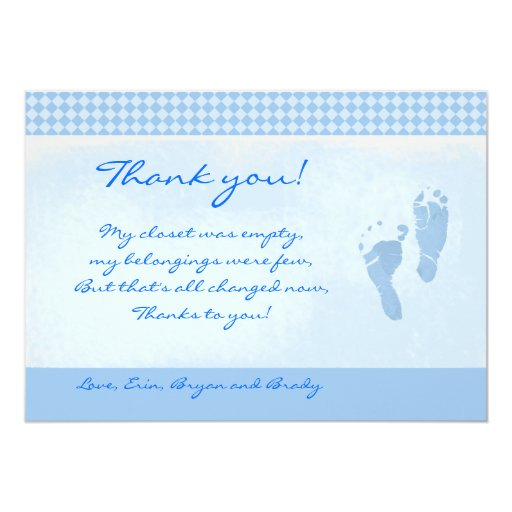 Baby Feet Blue Baby Shower Thank you Flat card