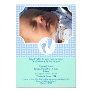 Baby Feet Blue Baptism Dedication 5x7 photo 5x7 Paper Invitation Card