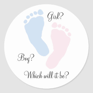 Baby Feet Footprint Gender Reveal Classic Round Sticker
