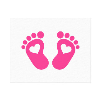 Baby feet hearts stretched canvas print