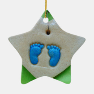 baby feet in blue ceramic ornament